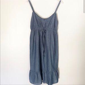 Maternity Chambray Cotton Spaghetti Strap Dress S